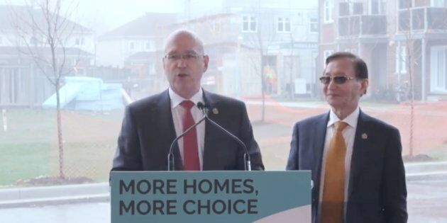 Minister Steve Clark speaks at an announcement in Scarborough, Ont. on May 2, 2019.