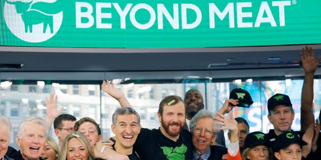 Ethan Brown, center, CEO of Beyond Meat, attends an Opening Bell ceremony with guests to celebrate the...