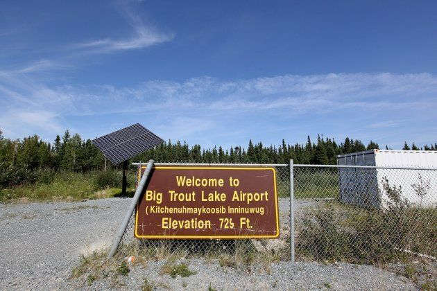 The welcome sign at the airport of the First Nation community of Big Trout Lake is photographed on Aug,...