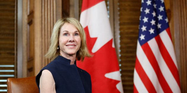 U.S. Ambassador to Canada Kelly Craft takes part in a meeting with Prime Minister Justin Trudeau in his...