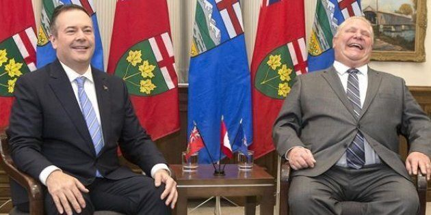 Alberta Premier Jason Kenney meets with Ontario Premier Doug Ford for a photo opportunity at Queen's Park in Toronto on May 3, 2019.