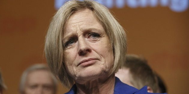Alberta NDP Leader Rachel Notley speaks in Edmonton on April 16,