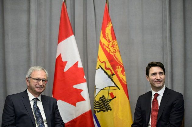 Prime Minister Justin Trudeau meets with New Brunswick Premier Blaine Higgs on Parliament Hill in Ottawa...