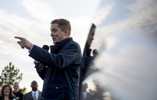 Conservative leader Andrew Scheer speaks to supporters before a door-knocking event for volunteers in...