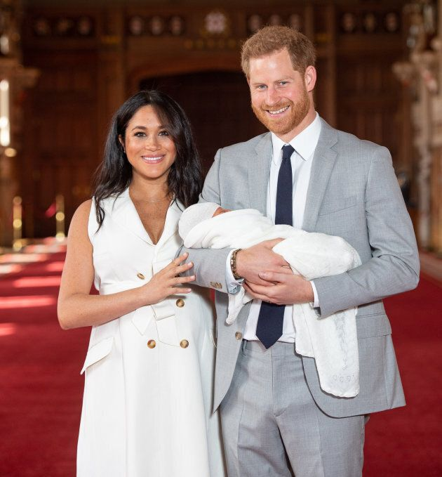 he Duke and Duchess of Sussex with their baby son, who was born on Monday morning, during a photo call in St George's Hall at Windsor Castle in Berkshire.
