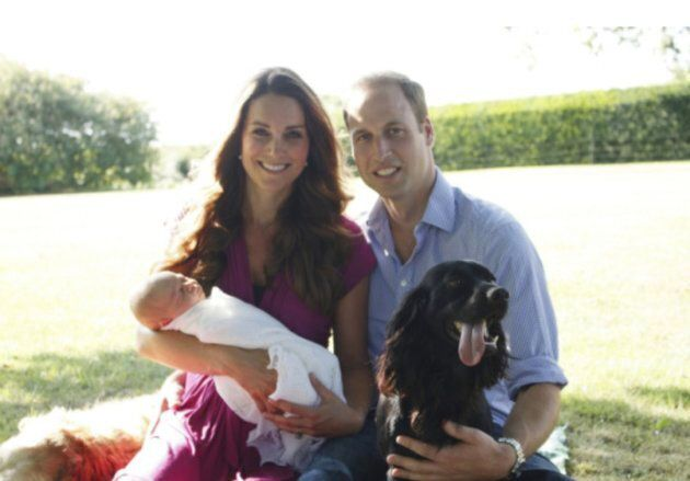 Prince George first official baby portrait with parents Kate Middleton and Prince William, taken by Kate's father, Michael Middleton.
