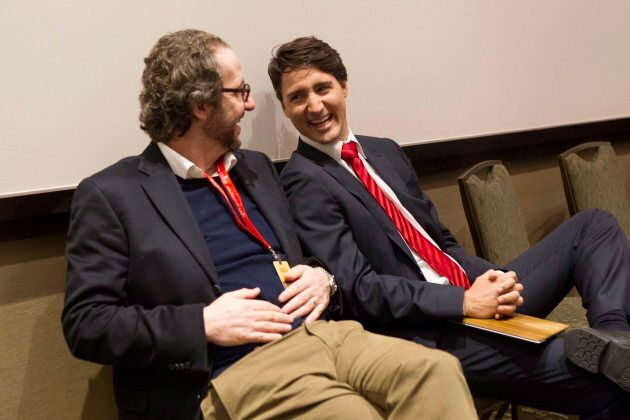 Gerald Butts chats with Justin Trudeau after taking part in a Liberal leadership debate in Mississauga,...