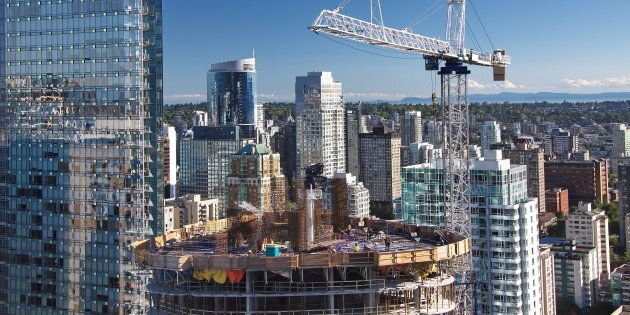New construction of high-rise building in downtown Vancouver.