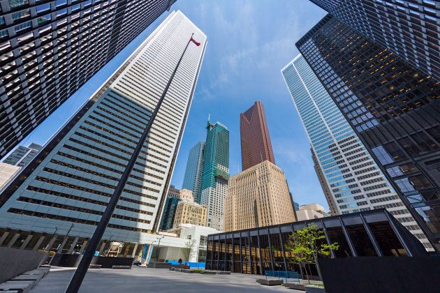 The office towers of Bank of Montreal, Scotiabank, CIBC and Royal Bank in Toronto's financial district.