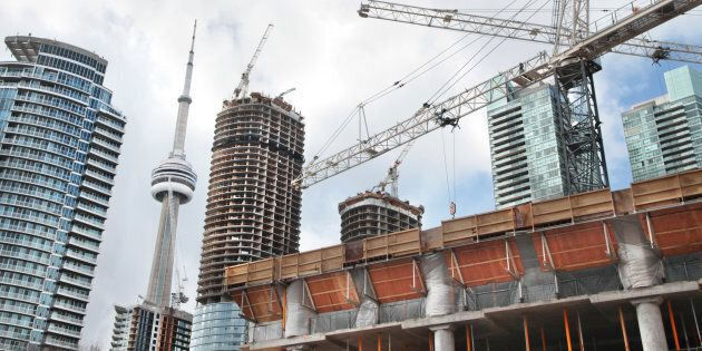 Condo towers under construction in Toronto's downtown core, March, 2013.