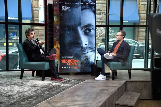 Joe Berlinger, left, visits the Build Series to discuss the films 'Conversations with a Killer: The Ted Bundy Tapes' and 'Extremely Wicked, Shockingly Evil and Vile.' Ted Bundy would have loved seeing his face on a movie poster.