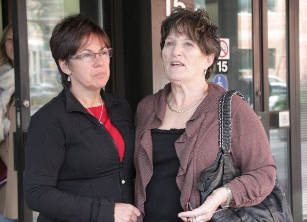 Coralee Smith, right speaks outside the inquest into the segregation-cell choking death of her daughter,...