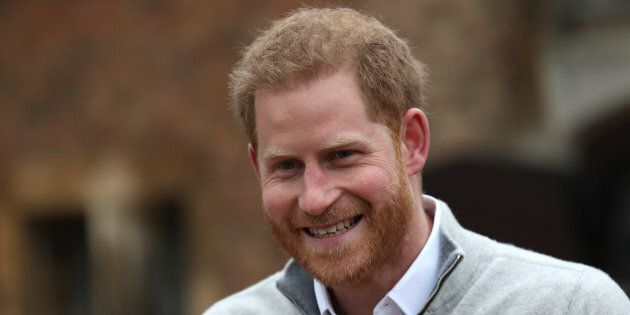 Prince Harry, Duke of Sussex, speaks to the media at Windsor Castle following the birth of his son on