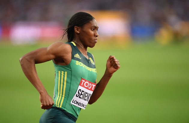 Caster Semenya of South Africa competes in the final of the Women's 800-metre event at the 2017 IAAF...