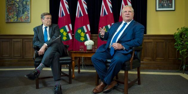 Toronto Mayor John Tory and Ontario Premier Doug Ford are photographed at Queens Park July 9,