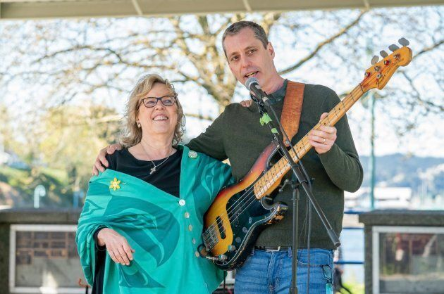 Green Party Leader Elizabeth May is shown with Paul Manly in an undated photo from his Facebook