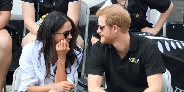 Meghan Markle and Prince Harry at the Invictus Games Toronto 2017 at Nathan Philips Square on Sept. 25, 2017 in Toronto. On May 6, the couple gave birth to a baby boy.