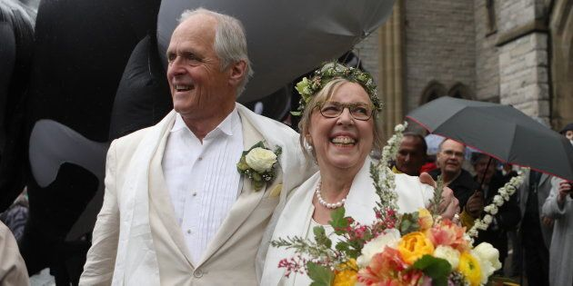 Federal Green Party leader Elizabeth May and her husband John Kidder greet the public after their wedding...