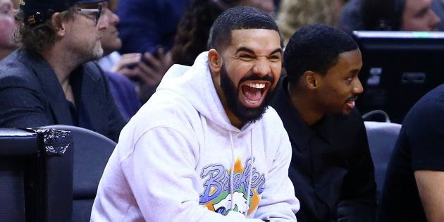 Drake at Game Five of the second round of the 2019 NBA Playoffs between the Philadelphia 76ers and the Toronto Raptors at Scotiabank Arena in Toronto on Tuesday night. This is how we look when we're talking about