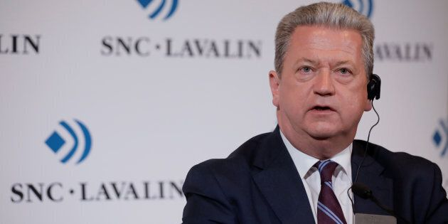 SNC-Lavalin president and CEO Neil Bruce answers questions from the media following the company's annual...