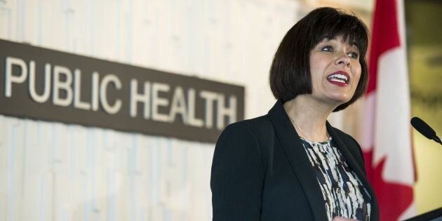 Health Minister Ginette Petitpas Taylor speaks during an announcement at UBC in Vancouver on April 23,