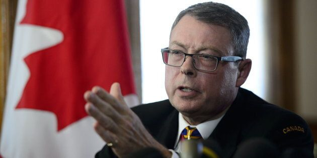 Vice Admiral Mark Norman reacts during a press conference in Ottawa on May 8,