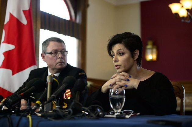 Vice-Admiral Mark Norman sits with his lawyer Marie Henein at a press conference in Ottawa on May 8,