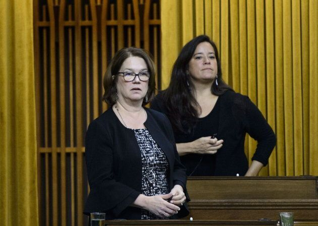 Independent MPs Jane Philpott and Jody Wilson-Raybould vote in the House of Commons on Parliament Hill in Ottawa on April 9, 2019.