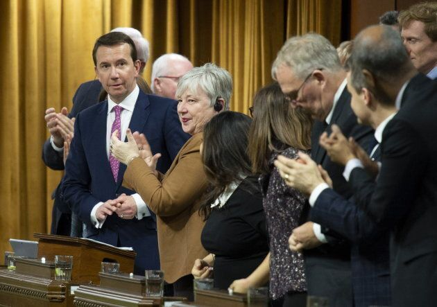 Scott Brison is given a standing ovation during his farewell speech in the House of Commons on Feb. 6,...