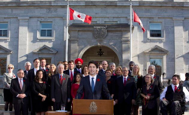 Prime Minister Justin Trudeau holds a news conference with his cabinet after they were sworn-in at Rideau Hall on Nov. 4, 2015. Weeks later, details of a cabinet decision regarding a shipbuilding deal was leaked to media.