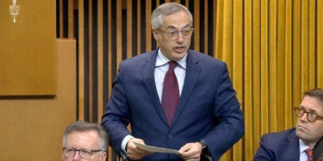Independent MP Tony Clement stands in the House of Commons on May 9, 2019.