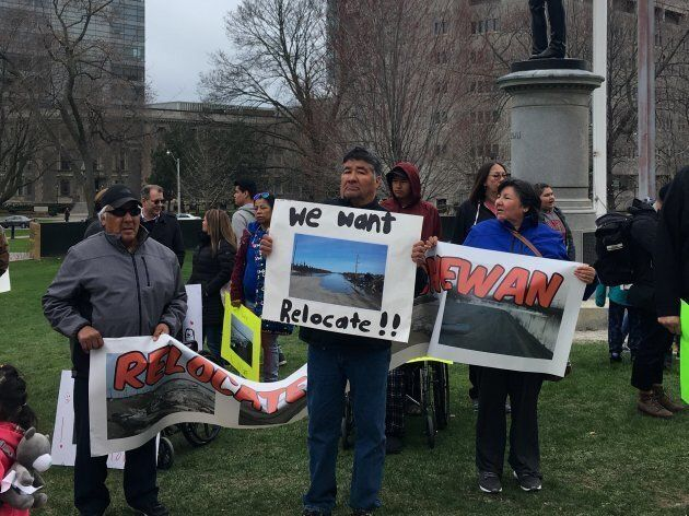 Members of Kashechewan First Nation rally outside Queen's Park in Toronto on April 29,