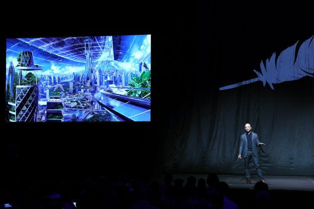Jeff Bezos, owner of Blue Origin, speaks about outer space before unveiling a new lunar landing module...