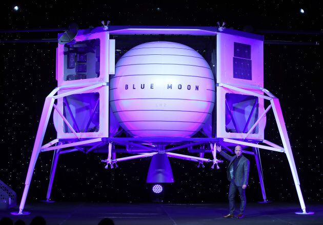 Jeff Bezos, owner of Blue Origin, introduces a new lunar landing module called Blue Moon during an event...
