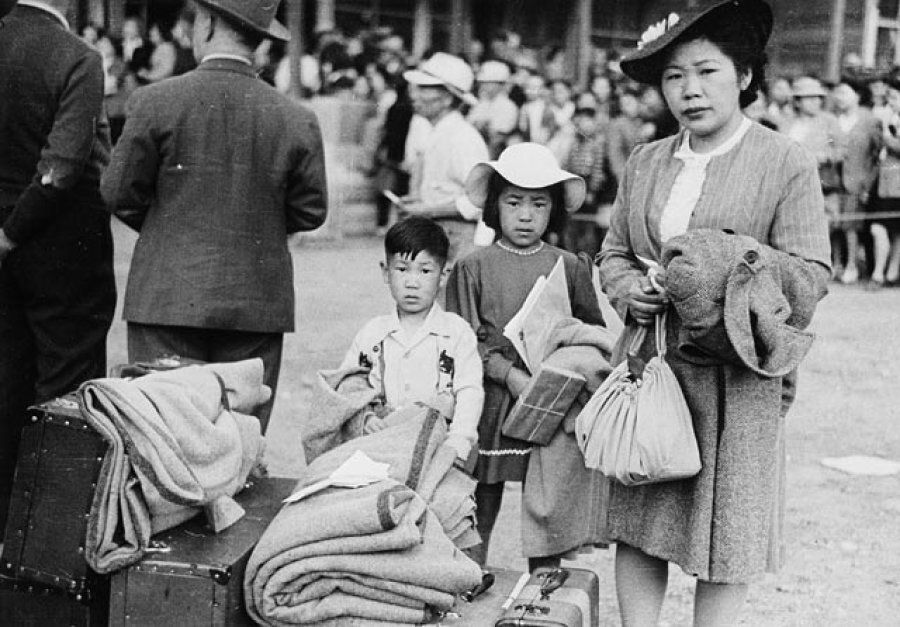 A Japanese-Canadian family being relocated in British Columbia in 1942.