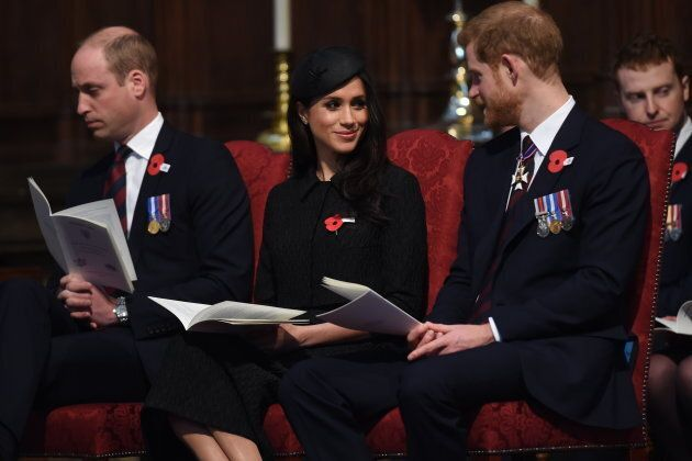 Prince William, Duke of Cambridge, Meghan Markle and Prince Harry attend an Anzac Day service at Westminster...