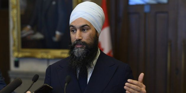 NDP Leader Jagmeet Singh speaks to reporters on Parliament Hill on March 19,