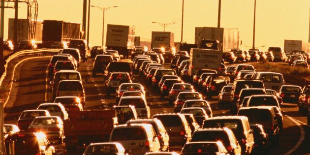 Traffic at evening rush hour on Highway 401 in