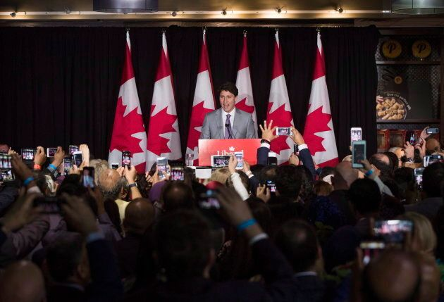 Prime Minister Justin Trudeau speaks at an event at Fakih's restaurant, Paramount Fine Foods in Mississauga,...