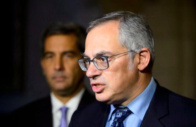 Former Conservative MP Tony Clement holds a press conference on Parliament Hill in Ottawa on Oct. 22,