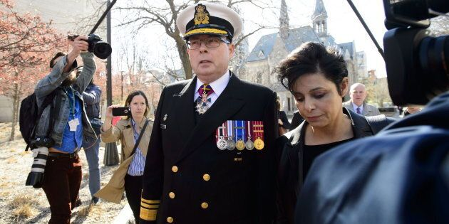 Vice-Admiral Mark Norman arrives to court with lawyer Marie Henein in Ottawa on May 8,