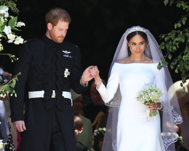The Duke and Duchess of Sussex leave St George's Chapel, Windsor Castle after their wedding ceremony...