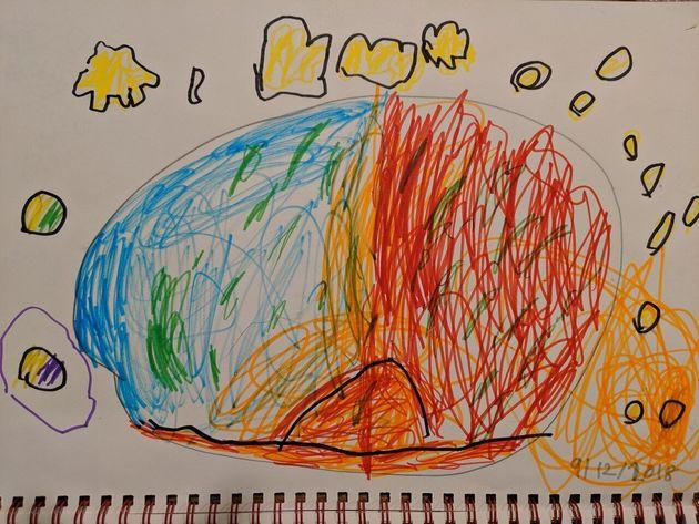 地球の中の赤道と火山の様子を表現した作品