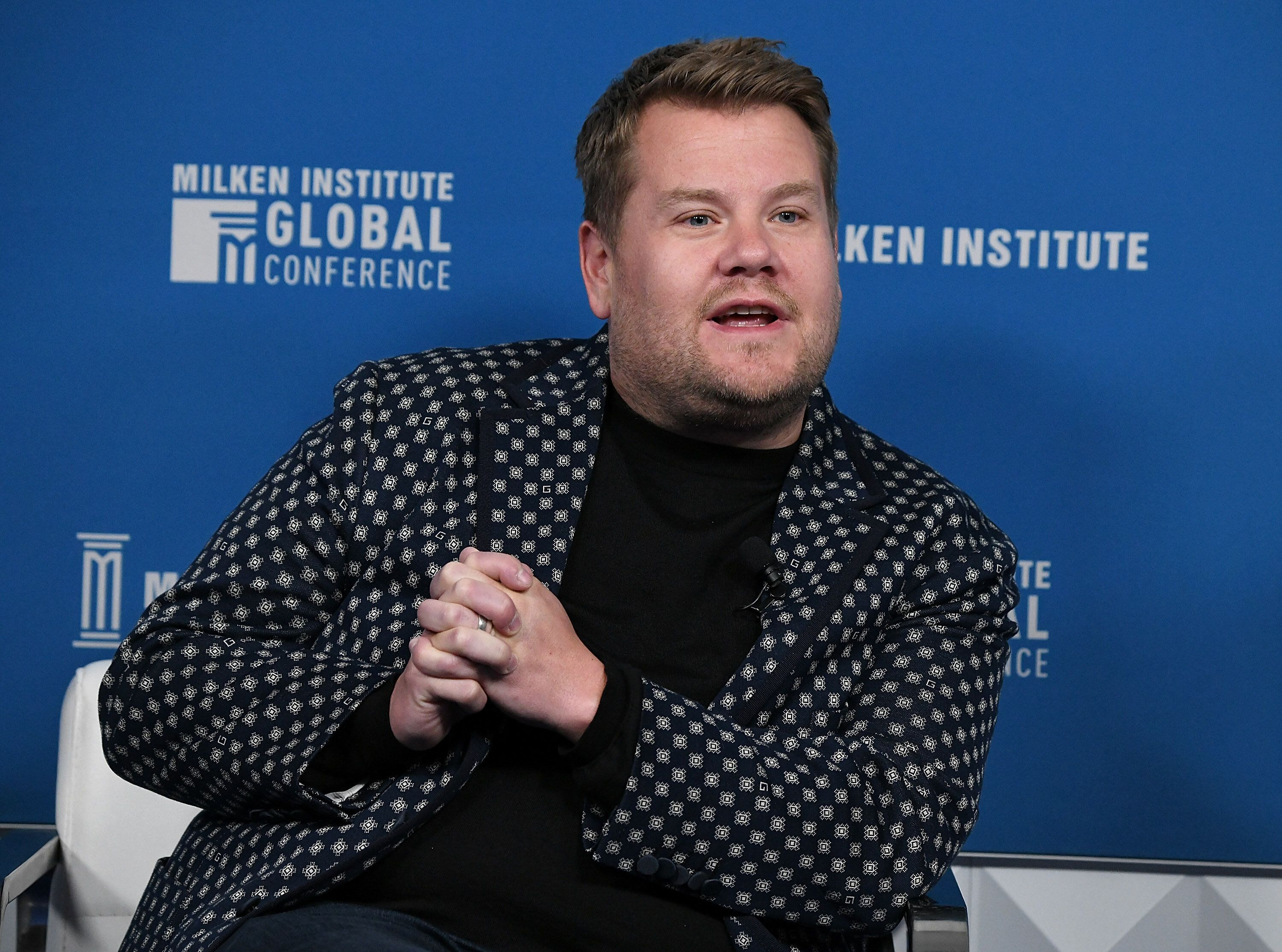 BEVERLY HILLS, CA - APRIL 30:  James Corden, Host, The Late Late Show, participates in a panel discussion during the annual Milken Institute Global Conference at The Beverly Hilton Hotel on April 30, 2019 in Beverly Hills, California.  (Photo by Michael Kovac/Getty Images)