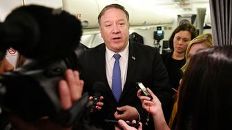 US Secretary of State Mike Pompeo speaks to reporters in flight early on May 8, 2019, after a previously unannounced trip to Baghdad. Pompeo landed in Baghdad late on May 7 on the unannounced visit. (Mandel Ngan/Pool Photo via AP)