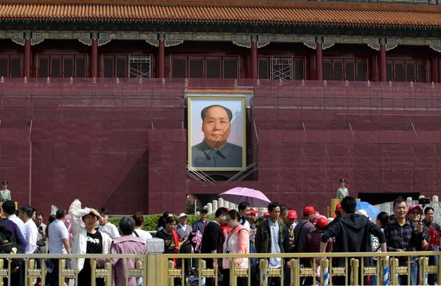 The portrait of Chinese late Chairman Mao Zedong is seen on Tiananmen Gate, which is covered during renovation...