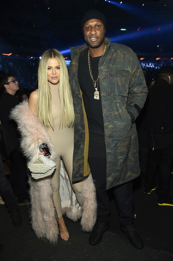 Khloe Kardashian and Lamar Odom attend Kanye West Yeezy Season 3 on Feb. 11, 2016 in New York City