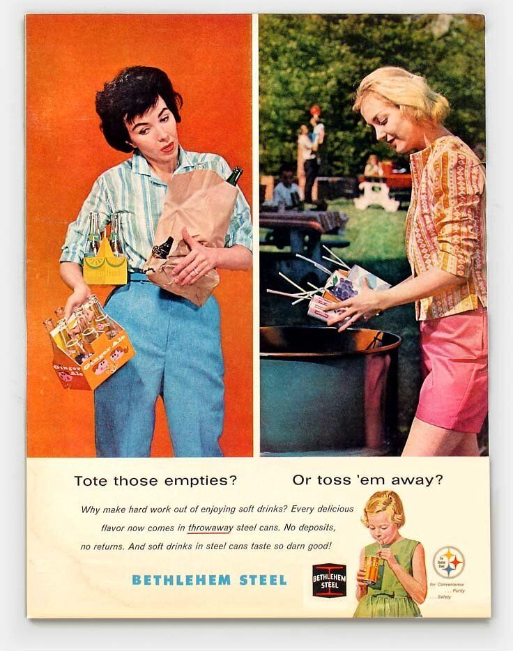 Vintage ad touting the convenience of throwaway cans vs. reusable glass bottles.