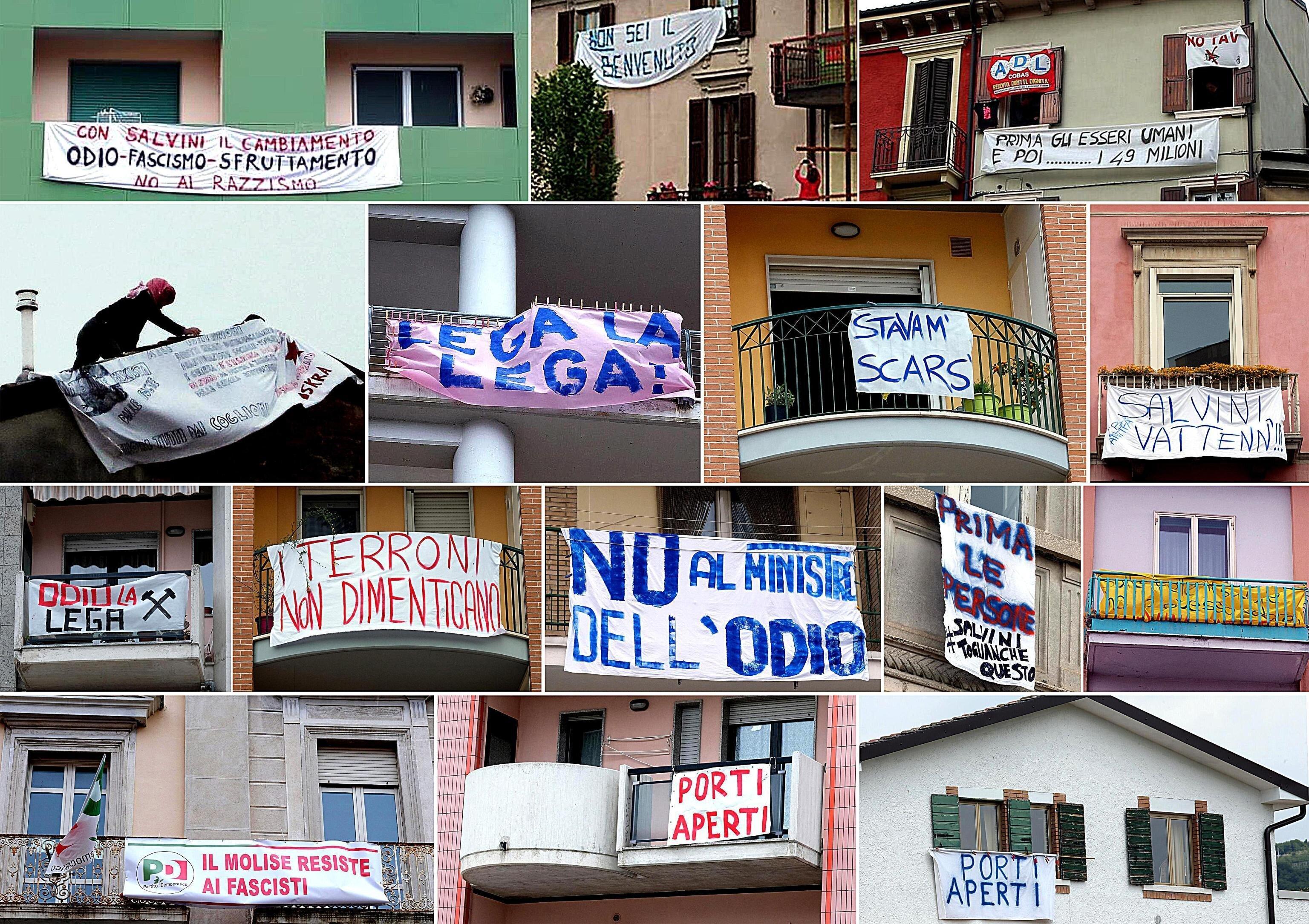 #Salvinitoglianchequesti, piccoli striscioni crescono (di
