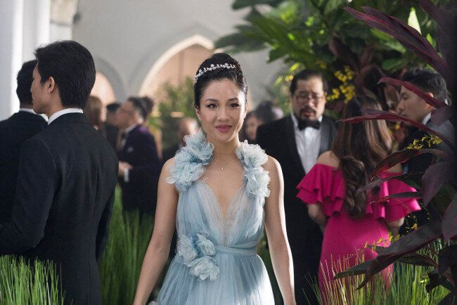 "Constance Wu, wearing the memorable dress, in ""Crazy Rich Asians."""